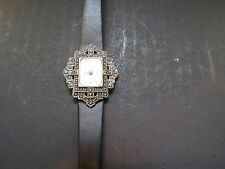 AVON Marcasite Womens Watch  with Black Genuine Leather Band Silver Tone