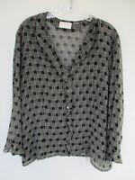 Liz Claiborne Liz Sport Women's Black & White Geometric 3/4 Sleeve Blouse Shirt