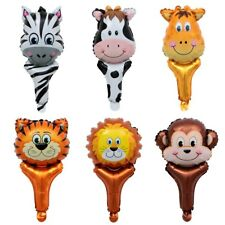 Jungle Animal HEAD foil balloons hand held air-fill stick wild Clapper Party