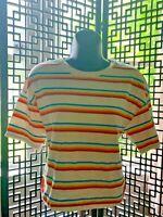 Vtg Crop Top halter top tee rainbow stripe Womens size Large