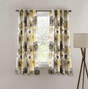 Lush Decor Leah Floral Room Darkening Yellow & Gray Window Curtains Panels 52x63