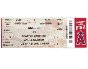 Mike Trout 1st Career Cycle ~ 5/21/2013 Angels Full Game Ticket ~ Near-Mint