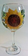 "HAND PAINTED WINE GOBLET WITH ""SUNFLOWERS""  AND UNIQUE DIMENSIONAL DETAILS"