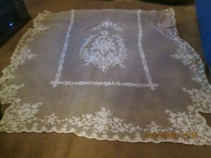 ANTIQUE 2 PIECE VICTORIAN ALL LACE BED AND PILLOW COVER/COVERLET