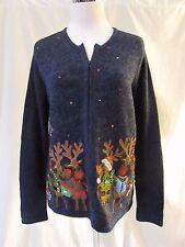 Christmas Reindeer Cardigan Sweater Women's Small bells Zipper Front Blue