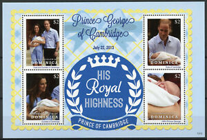 Dominica Royalty Stamps 2013 MNH Prince George Royal Baby William & Kate 4v M/S