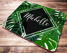Tropical Leaves PERSONALIZED Custom Name Mouse Pad Computer Desk Accessories