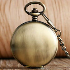 Bronze Smooth Roman Numerals Noctilucent Automatic Mechanical Pocket Watch Chain