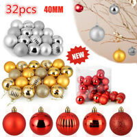 32PCS Christmas Xmas Tree Ball Bauble Home Party Ornament Hanging Decor 40mm New