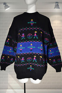 Fabulous 80s Vintage Oversized Peruvian Pattern Jumper by PACO SWEATERS - Large