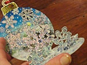 Pop Up Christmas Ornament Cards Set of Snowflake Scene Glitter SNOW