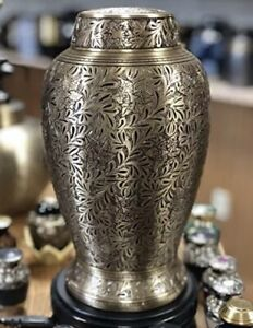 two-4-five Cremation Urns for Human Ashes Full Size Brass Vintage Antique Finish