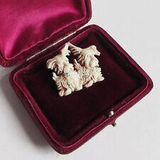 Brooch Pin - Vintage Celluloid - Two Crazy Scottie Westie Yorkie Dogs - RETRO