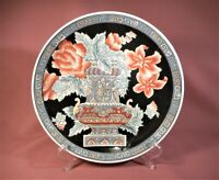 "Vtg Macau Hand Painted Decorative Chinese Plate 10 1/4"" Floral with Gray Vase"