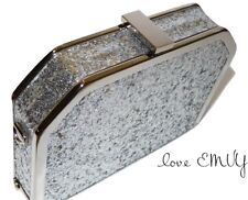 Gold/ Silver Box glitter Clutch sequin mermaid prom party wedding evening bridal