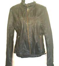 Metro 7 Womens Jacket Black Soft 100% Leather Short Motorcycle size 16 M L