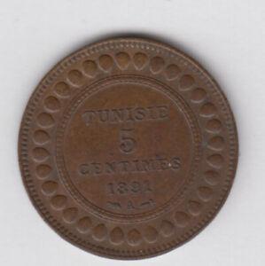TUNISIA TUNISIE 5 Centimes 1891 copper KM221 (tun189)