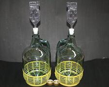 2 x 5L Weinballon Glasballon mit Verschluß +Gärröhrchen+Stopfen Weinherstellung