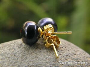 8-9mm BLACK Pearl Earring Studs - 18k Gold Plated 925 SOLID Silver