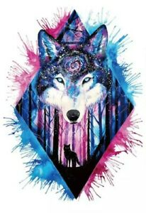 WOLF Temporary Tattoo 🇬🇧 A5 Large Adult Mens Body Art Unisex Transfers Wolves