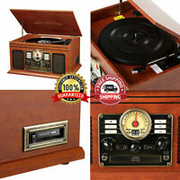 6-in-1 FM Radio Record Player W Speakers Nostalgic Bluetooth 3-Speed CD Cassette