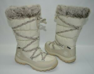 Timberland Waterproof Ivory Nylon Insulated Lace Faux Fur Warm Boots Size 7