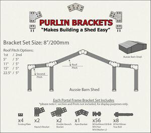 Aussie Barn Shed 8inch C Section Purlin Bracket Set-Garage-Farm-Steel Plate