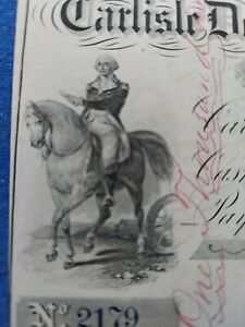 "1867 Carlisle Pennsylvania Bank Check ""Washington"""