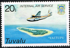 Tuvalu Aviation Aircraft over Vaitupu atoll map stamp 1986 MNH