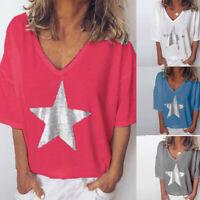 Women Summer Fashion Solid Bling T-Shirt V-Neck Short Sleeve Loose Blouse Tops B
