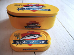 "Norwegian Stabburet ""Makrell i tomat"" - Nice large metal lunch/sandwich box"