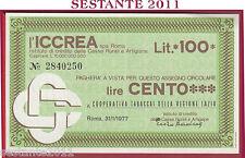 ICCREA LIRE 100 31.01. 1977  COOPERATIVA TABACCAI DELLA REGIONE LAZIO B335
