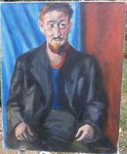 Bearded Man Sitting 30 x 24 Oil Painting-1956-Israel Louis Winarsky-Listed N.J.