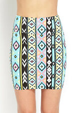 Forever 21 F21 Vibrant Tribal Print Skirt Pink Small