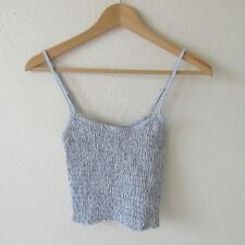 Brandy Melville Women's Spaghetti Strap Top in Blue and White New