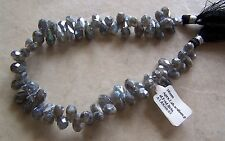 "9"" Strand Diamond Polish Labradorite Gemstone Faceted Drop Briolette Beads"