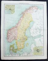 1890 Bartholomew Large Original Antique Map of Sweden and Norway
