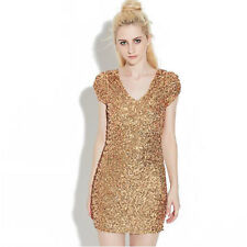 Sparkling Sequins Sexy Bodycon V-neck Dazzling Party Mini Dress Stage Clubwear