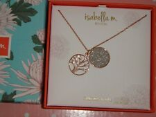 ISABELLA M Womens Rose Gold Sterling Silver Necklace Two Pendants Crystals ITALY