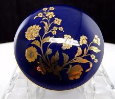 """BAVARIA GERMANY COBALT BLUE & GOLD FLORAL ROUND LIDDED 2 3/8"""" TRINKET BOX"""