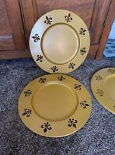 "Set of 4 Gold Fleur de Lis 13"" Round Metal Plate Chargers"