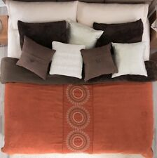 New Circles Embroidered Suede Blanket With Sherpa Very Softy And Warm Cal King