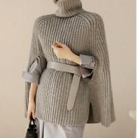 Korean Women's Collared Knitting Slim Sweater Cape Loose Cloak Coat Bat Sleeve