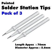 3 x Solder Station Spare Tips Approx 75mm 76mm x 5.5mm