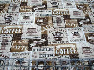 3 Yards Quilt Cotton Fabric - Timeless Treasures Coffee Signs Packed Nat & Brown
