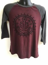 Vans Off The Wall Longe Sleeve T Shirt Boys Medium Red With Black Sleeves