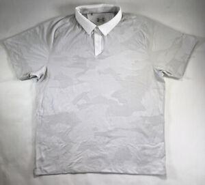 Under Armour Polo Vanish Sprocket Golf Shirt Short White Blue Camo S L XL DEFECT