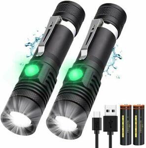 2x Superhelle Taschenlampe CREE LED 80000LM USB wiederaufladbare Fackel Batterie