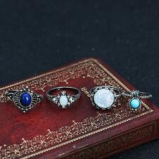 4pcs Women Fashion Vintage Boho Ring Set Crystal Gem Knuckle Ring Jewelry #2-7