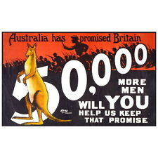 Australia Has Promised Recruiting Poster Deco FRIDGE MAGNET, 1915 World War 1